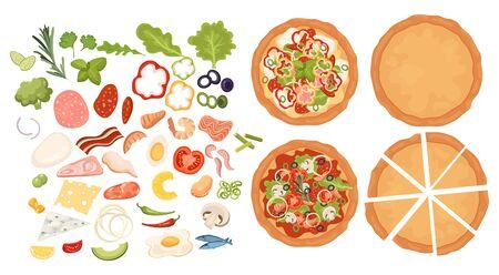 Créateur de pizzas. Ensemble de pizza design. Faire des pizzas. Collection d'articles de pizza. Dessin animé pour les enfants. Cuisine. Fast food.