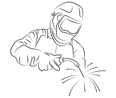 Welder welds metal. Black and white illustration of a welder in work clothes. Banque d'images - 129547509
