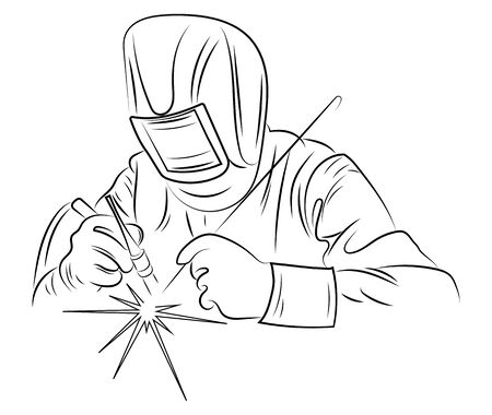 Welder welds metal. Black and white illustration of a welder in work clothes. Linear art.