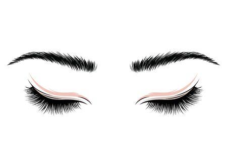 cils. Les yeux de la fille maquillée. Illustration vectorielle des sourcils et des cils. Figurine pour un salon de beauté.