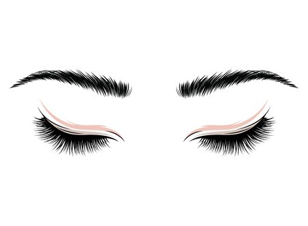 eyelashes. The eyes of the girl with makeup. Vector illustration of eyebrows and eyelashes. Figure for a beauty salon.