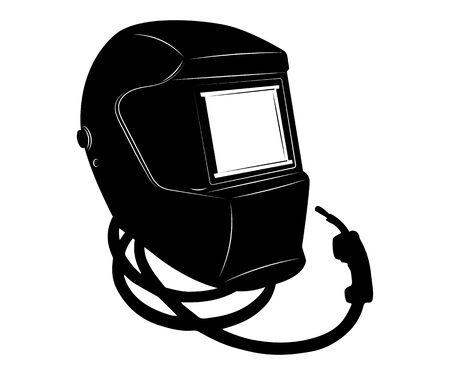 Masken zum Schweißen. Werkzeuge zum Schweißen. Schweißen von Metall. Schwarze weiße Abbildung.