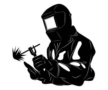 Soldador suelda metal. Ilustración en blanco y negro de un soldador en ropa de trabajo. Arte lineal.