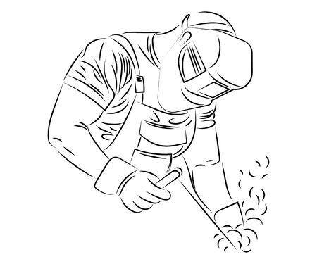 Schweißer schweißt Metall. Schwarz-Weiß-Darstellung eines Schweißers in Arbeitskleidung. Vektorgrafik