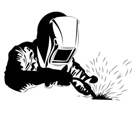 Il saldatore salda il metallo. Illustrazione in bianco e nero di un saldatore in abiti da lavoro.