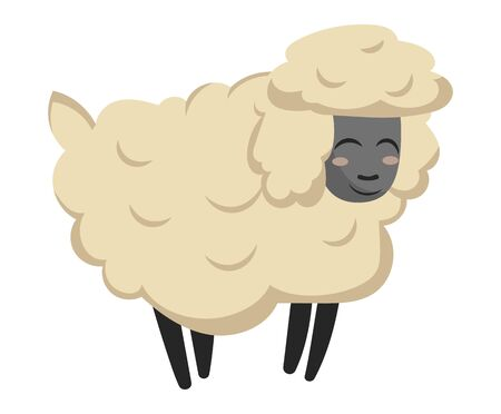 Cartoon sheep. Vector illustration of a sheep. Drawing animal for children. Zoo for kids.