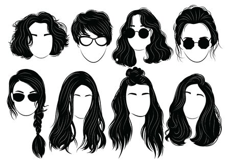 Set of hairstyles for women. Collection of black silhouettes of hairstyles for girls. Woman portrates .