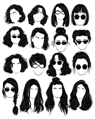 Set of hairstyles for women. Collection of black silhouettes of hairstyles for girls.  イラスト・ベクター素材