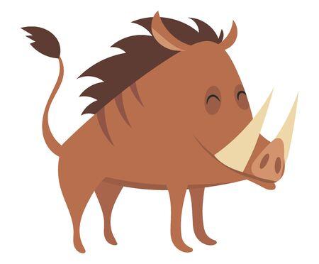 Cartoon warthog.Vector illustration. Drawing animal for children. Zoo for kids. Vektorové ilustrace