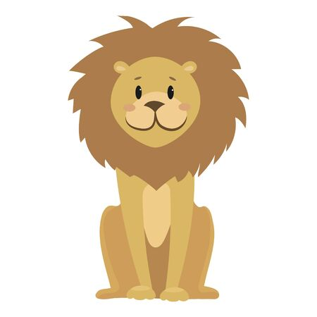 Cartoon lion. Vector illustration of a cute lion. Drawing animal for children. Zoo for kids.