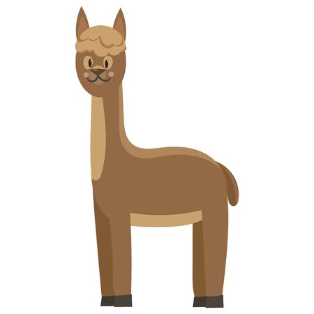 Cartoon Lama. Vector illustration of a cute lama. Drawing animal for children. Zoo for kids. 矢量图像