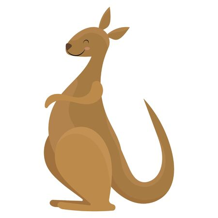 Cartoon kangaroo. Vector illustration of a cute kangaroo. Drawing animal for children. Zoo for kids.