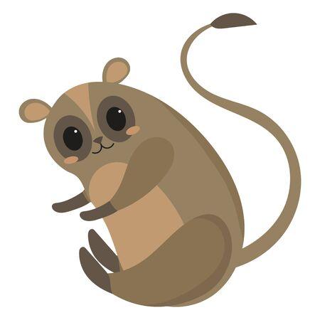 Cartoon lemur.Vector illustration of a little lemur. Drawing animal for children. Zoo for kids.