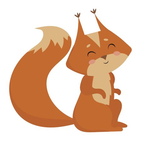 Cartoon squirrel. Vector illustration of a squirrel. Drawing animal for children. Zoo for kids.