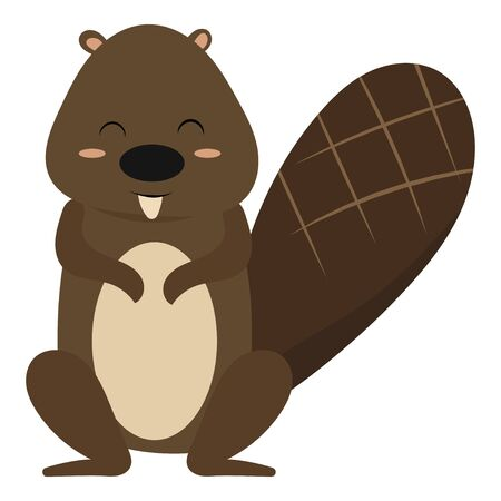 Cartoon beaver. Vector illustration of a beaver. Drawing animal for children. Zoo for kids.