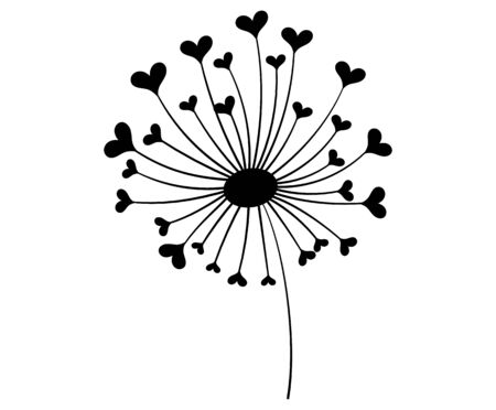Dandelion with hearts. Black and white dandelion with flying seeds. Vector illustration of a summer flower. Silhouette dandelion. Tattoo. Çizim
