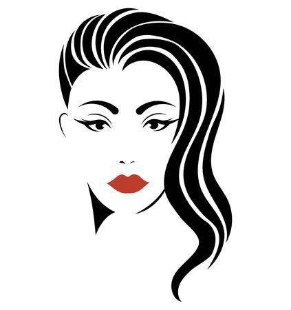 Portret dziewczynki. Głowa pięknej dziewczyny. Twarz młodej kobiety z kobiecą fryzurą. Logo dla salonu piękności. Logo