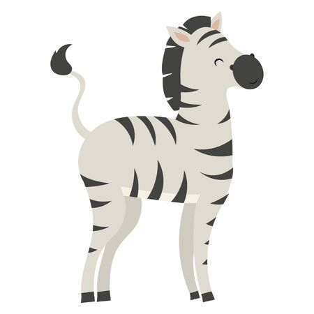 Zebra cartoon. Vector illustration of a cute zebra. Drawing animal for children. Zoo for kids.