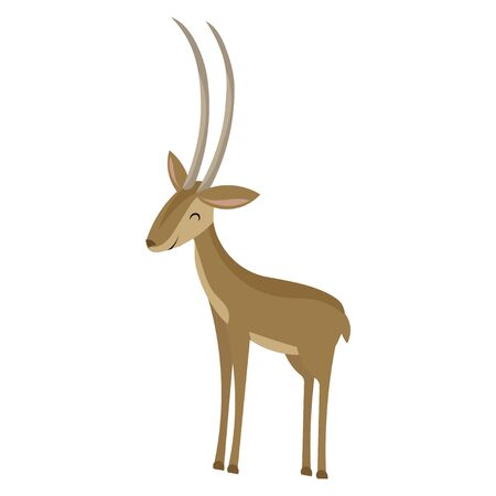 Cartoon antelope. Vector illustration of a cute gazelle. Drawing animal for children. Zoo for kids.