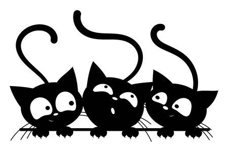 Gatos negros mirando por la ventana. Los gatos de dibujos animados miran por la ventana. Ilustración de vector blanco negro para niños. Tatuaje. Ilustración de vector