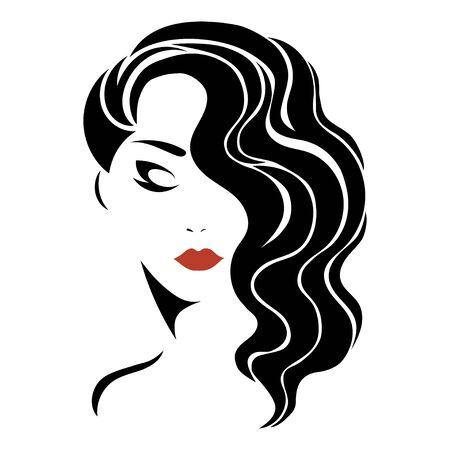 Portret dziewczynki. Głowa pięknej dziewczyny. Twarz młodej kobiety z kobiecą fryzurą. Projekt dla salonu kosmetycznego. Ilustracje wektorowe