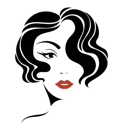 Portret dziewczynki. Głowa pięknej dziewczyny. Twarz młodej kobiety z kobiecą fryzurą. Projekt dla salonu kosmetycznego.