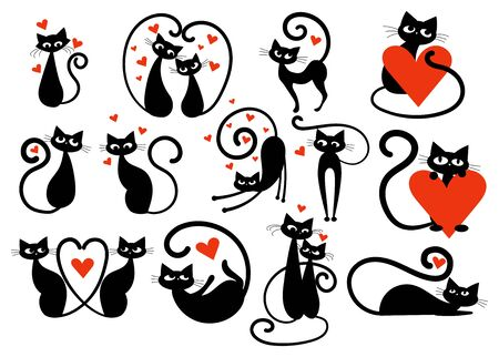 Set of black cats with hearts. Collection of cats in love. Vector illustration for kids. Illustration