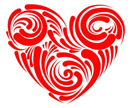 Stylized heart for lovers day. Heart with patterns to the day of St. Valentine. Symbol of love. Tattoo. Stock Illustratie