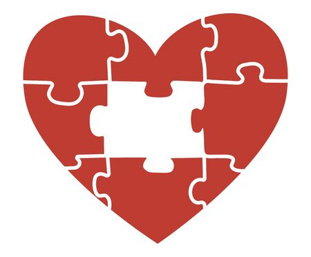 Heart puzzle. Vector illustration of a heart for for Valentines. Symbol of love. Tattoo.