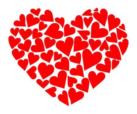 Cuore composto da cuori. Illustrazione vettoriale per il giorno del Santo Valentino. Un simbolo d'amore.