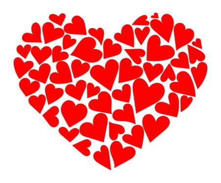 Heart consisting of hearts. Vector illustration to the day of the holy valentine. A symbol of love.