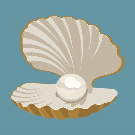 Concha de dibujos animados con una perla. Concha. Ilustración de vector de una almeja. Dibujo para niños.