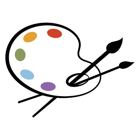 Tavolozza artistica con vernici. Tavolozza stilizzata. tavolozza con vernici. Tavolozza per l'artista. Illustrazione vettoriale per bambini.