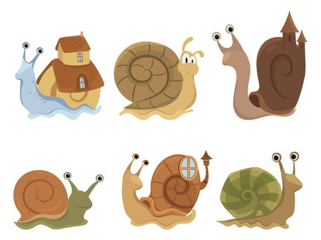Set of cartoon snails with houses. Collection of cute clams. Vector illustration of snails for children.