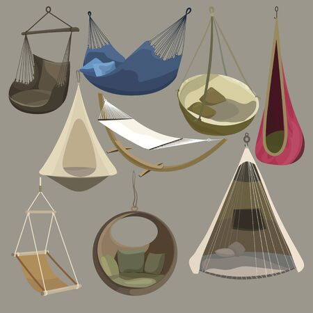 Hammock set. Furniture collection for the rest. Vector illustration of sun loungers. Swing chair.