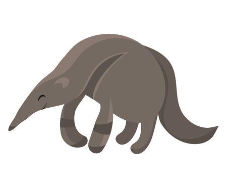 Cartoon anteater. Vector illustration of an anteater. Drawing animal for children. Zoo for kids.