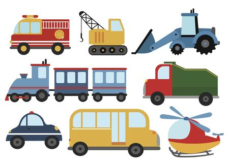 Set of cartoon cars. Collection of stylized cars for children. Working technique. Vector illustration of transport.  イラスト・ベクター素材