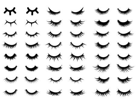 Set of female eyelashes. Collection of false eyelashes. Black and white illustration of closed eyes. Bottled eyelashes of girls. Female makeup. Silhouette drawing.