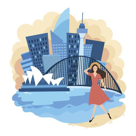 Landscape of Sydney. Cartoon illustration of the sights of Australia. Vector drawing for travel agency.
