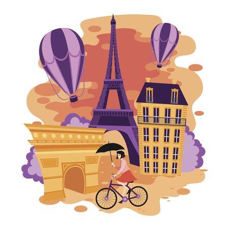 Landscape of Paris. Cartoon illustration of the sights of France. Vector drawing for travel. Illusztráció