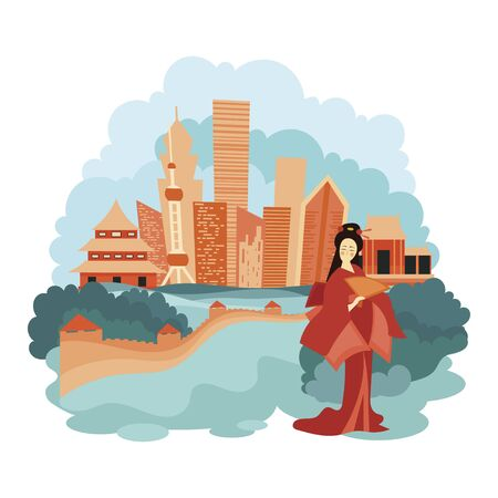 Landscape Beijing. Cartoon illustration of the sights of China. Vector drawing for travel agency.