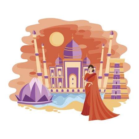 Landscape New Delhi. Cartoon illustration of the sights of India. Vector drawing for travel agency.