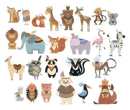 Set of cute animals indians. Collection of animals and birds with headdresses with feathers. Cartoon residents of the forest. Vector illustration for kids. Illustration