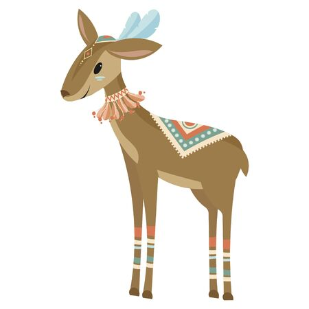 Cartoon antelope indian. Vector illustration of a cute antelope in a headdress with feathers. Drawing animal for children. Zoo for kids.