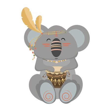 Cartoon koala indian. Vector illustration of a cute koala in a headdress with feathers. Drawing animal for children. Zoo for kids. Stock fotó - 129672134
