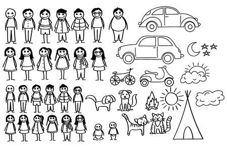 Satz glückliche Cartoon-Doodle-Figurenfamilie, Stockmann. Stickman-Illustration, die eine Mutter und einen Vater und Kinder kennzeichnet. Vektor-Illustration, Familie in Strichmännchen. Vektorgrafik