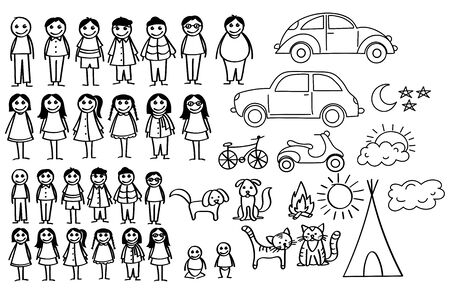 Set of happy cartoon doodle figure family, stick man. Stickman Illustration Featuring a Mother and Father and Kids. Vector Illustration, set of family in stick figures.