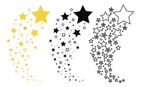 Ensemble d'étoiles filantes. Collection de silhouette d'étoiles. Illustration vectorielle d'une étoile volante. Dessin en noir et blanc. Tatouage.