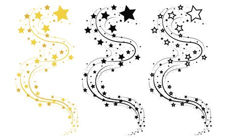 Set of shooting stars. Collection of stars silhouette. Vector illustration of a flying star. Black and white drawing. Tattoo.  イラスト・ベクター素材