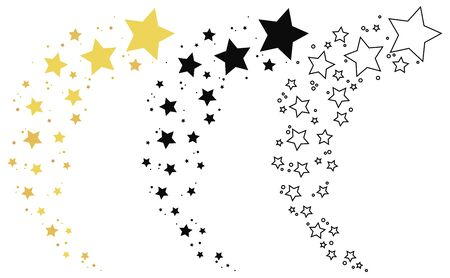 Set of shooting stars. Collection of stars silhouette. Vector illustration of a flying star. Black and white drawing.